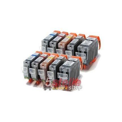 PGI-525-CLI-526 KIT 10 Cartucce Compatibili Per Canon Pixma MG5100 MG5150 MG5250 MG5350 MG6150 MG8150 MX715 MX885 IP4850 IP4950