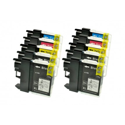 LC985 Kit 10 Cartucce compatibili Per Brother DCP-J125 DCP-J140W DCP-J315W DCP-J515W MFC-J220 MFC-J265W MFC-J410 MFC-J415W