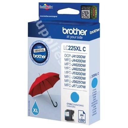 ORIGINAL Brother Cartuccia d'inchiostro ciano LC225XLC LC-225 ~1200 PAGINE 11.8ml