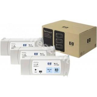 ORIGINAL HP Cartuccia d'inchiostro ciano (chiaro) C5076A 83 cartuccia d'inchiostro, pacco con 3 pezzi, UV