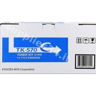 ORIGINAL Kyocera toner ciano TK-570c 1T02HGCEU0 ~12000 PAGINE