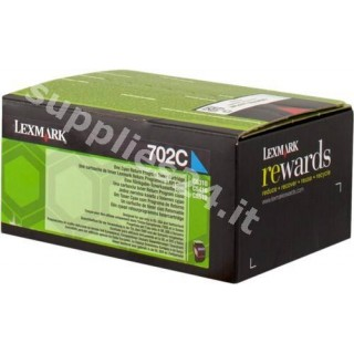 ORIGINAL Lexmark toner ciano 70C20C0 702C ~1000 PAGINE cartuccia di stampa riutilizzabile