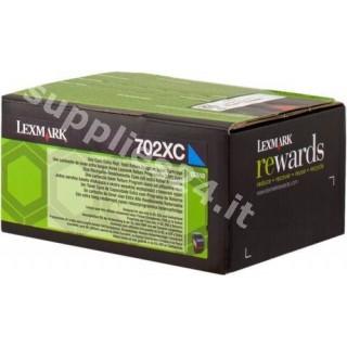 ORIGINAL Lexmark toner ciano 70C2XC0 702XC ~4000 PAGINE cartuccia di stampa riutilizzabile