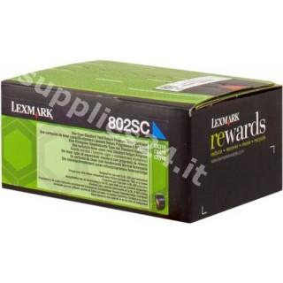 ORIGINAL Lexmark toner ciano 80C2SC0 802SC ~2000 PAGINE cartuccia di stampa riutilizzabile